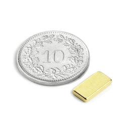 Q-10-05-1.5-G, Quadermagnet 10 x 5 x 1.5 mm, Neodym, N50, vergoldet