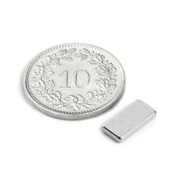 Q-10-05-1.5-N, Parallelepipedo magnetico 10 x 5 x 1.5 mm, neodimio, N50, nichelato