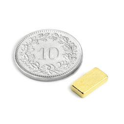Q-10-05-02-G, Quadermagnet 10 x 5 x 2 mm, Neodym, N50, vergoldet