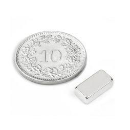 Q-10-05-03-N, Parallelepipedo magnetico 10 x 5 x 3 mm, neodimio, N45, nichelato