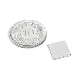 Q-10-10-1.2-N52N, Quadermagnet 10 x 10 x 1.2 mm, Neodym, N52, vernickelt