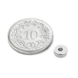 R-06-02-02-N, Ringmagnet Ø 6/2 mm, Höhe 2 mm, Neodym, N45, vernickelt