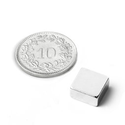 Q-10-10-03-N, Block magnet 10 x 10 x 3 mm, neodymium, N42, nickel-plated
