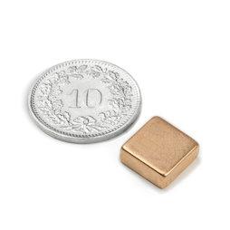 Q-10-10-04-K, Parallélépipède magnétique 10 x 10 x 4 mm, néodyme, N40, cuivré