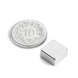 Q-10-10-05-N, Parallelepipedo magnetico 10 x 10 x 5 mm, neodimio, N42, nichelato