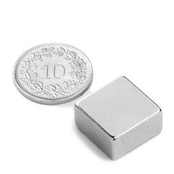 Q-15-15-08-N, Parallelepipedo magnetico 15 x 15 x 8 mm, neodimio, N42, nichelato