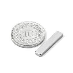 Q-20-04-02-N, Parallélépipède magnétique 20 x 4 x 2 mm, néodyme, N45, nickelé