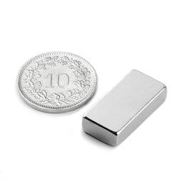 Q-20-10-05-N, Parallelepipedo magnetico 20 x 10 x 5 mm, neodimio, N42, nichelato