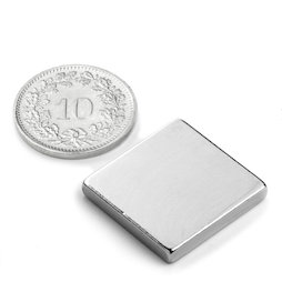 Q-20-20-03-N, Block magnet 20 x 20 x 3 mm, neodymium, N45, nickel-plated