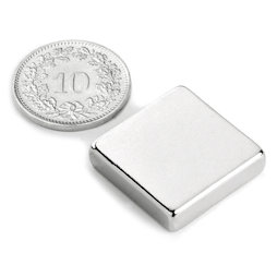 Q-20-20-05-N, Quadermagnet 20 x 20 x 5 mm, Neodym, N42, vernickelt