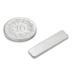 Q-25-06-02-SN, Quadermagnet 25 x 6 x 2 mm, Neodym, 45SH, vernickelt