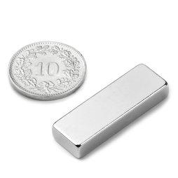 Q-30-10-05-N, Quadermagnet 30 x 10 x 5 mm, Neodym, N42, vernickelt
