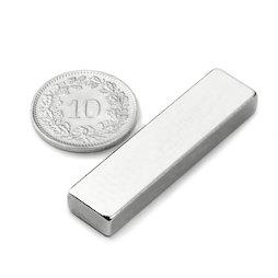 Q-40-10-05-N, Parallélépipède magnétique 40 x 10 x 5 mm, néodyme, N42, nickelé