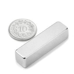 Q-40-10-10-N, Parallélépipède magnétique 40 x 10 x 10 mm, néodyme, N42, nickelé
