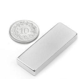 Q-40-15-05-N, Quadermagnet 40 x 15 x 5 mm, Neodym, N40, vernickelt