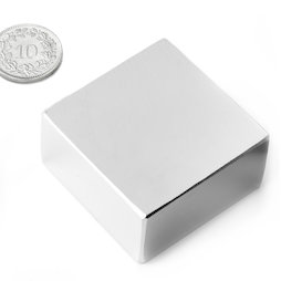 Q-40-40-20-N, Quadermagnet 40 x 40 x 20 mm, Neodym, N42, vernickelt