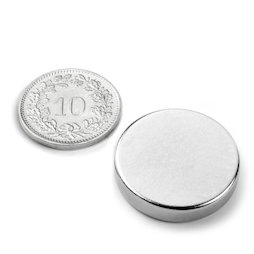 S-25-05-N, Disco magnético Ø 25 mm, alto 5 mm, neodimio, N42, niquelado