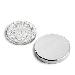 S-25-03-N, Disco magnetico Ø 25 mm, altezza 3 mm, neodimio, N45, nichelato