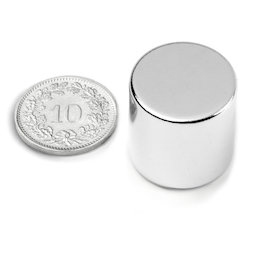 S-20-20-N, Disc magnet Ø 20 mm, height 20 mm, neodymium, N42, nickel-plated