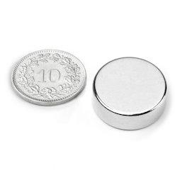 S-20-07-N, Disque magnétique Ø 20 mm, hauteur 7 mm, néodyme, N42, nickelé