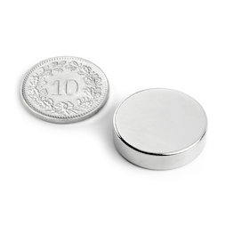 S-20-05-N, Disc magnet Ø 20 mm, height 5 mm, neodymium, N42, nickel-plated