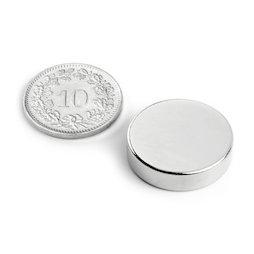 S-20-05-N, Disco magnético Ø 20 mm, alto 5 mm, neodimio, N42, niquelado