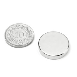 S-20-04-N, Disc magnet Ø 20 mm, height 4 mm, neodymium, N42, nickel-plated