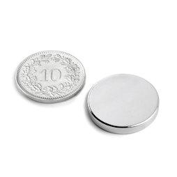 S-20-03-N, Disco magnético Ø 20 mm, alto 3 mm, neodimio, N45, niquelado