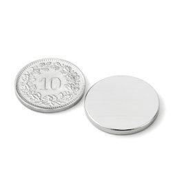 S-20-02-N52N, Scheibenmagnet Ø 20 mm, Höhe 2 mm, Neodym, N52, vernickelt