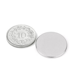 S-20-1.5-N, Disc magnet Ø 20 mm, height 1.5 mm, neodymium, N38, nickel-plated