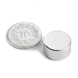 S-15-08-N, Disc magnet Ø 15 mm, height 8 mm, neodymium, N42, nickel-plated