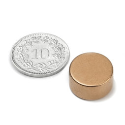 S-15-08-K, Disc magnet Ø 15 mm, height 8 mm, neodymium, N42, copper-plated