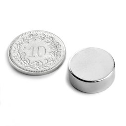 S-15-05-N, Disc magnet Ø 15 mm, height 5 mm, neodymium, N42, nickel-plated