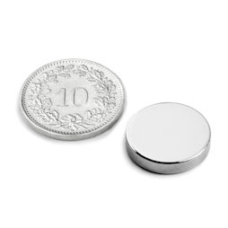 S-15-03-N52N, Disc magnet Ø 15 mm, height 3 mm, neodymium, N52, nickel-plated