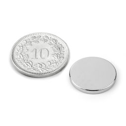S-15-02-N, Scheibenmagnet Ø 15 mm, Höhe 2 mm, Neodym, N40, vernickelt