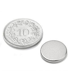 S-13-02-N, Disc magnet Ø 13 mm, height 2 mm, neodymium, N45, nickel-plated