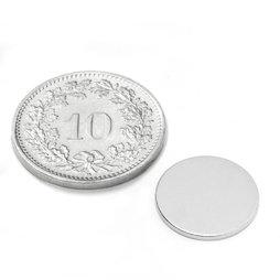 S-13-01-N, Disc magnet Ø 13 mm, height 1 mm, neodymium, N45, nickel-plated