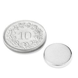 S-12-02-N, Disco magnetico Ø 12 mm, altezza 2 mm, neodimio, N45, nichelato