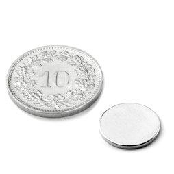 S-12-01-N, Disque magnétique Ø 12 mm, hauteur 1 mm, néodyme, N42, nickelé