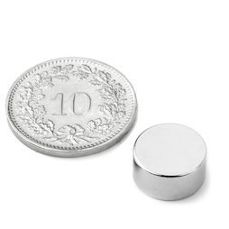 S-12-06-N, Disc magnet Ø 12 mm, height 6 mm, neodymium, N45, nickel-plated