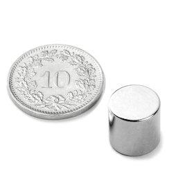 S-10-10-N, Disco magnético Ø 10 mm, alto 10 mm, neodimio, N45, niquelado
