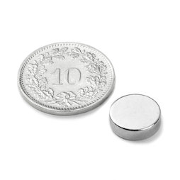 S-10-2.5-N, Disc magnet Ø 10 mm, height 2.5 mm, neodymium, N42, nickel-plated