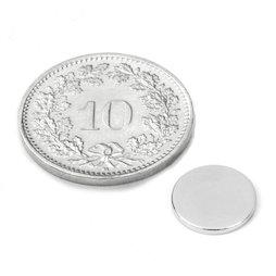 S-10-1.5-N, Schijfmagneet Ø 10 mm, hoogte 1.5 mm, neodymium, N42, vernikkeld