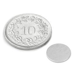 S-10-0.6-N, Schijfmagneet Ø 10 mm, hoogte 0.6 mm, neodymium, N35, vernikkeld