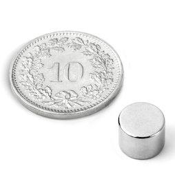 S-08-06-N52N, Disco magnético Ø 8 mm, alto 6 mm, neodimio, N52, niquelado
