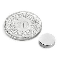 S-08-02-N, Scheibenmagnet Ø 8 mm, Höhe 2 mm, Neodym, N45, vernickelt