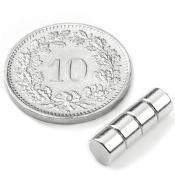 S-05-03-N, Disc magnet Ø 5 mm, height 3 mm, neodymium, N42, nickel-plated