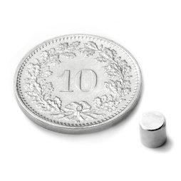 S-04-04-N, Disc magnet Ø 4 mm, height 4 mm, neodymium, N45, nickel-plated