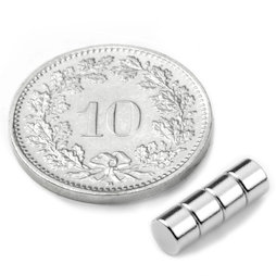 S-04-03-N, Disc magnet Ø 4 mm, height 3 mm, neodymium, N45, nickel-plated
