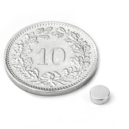 S-04-1.5-N, Disco magnetico Ø 4 mm, altezza 1.5 mm, neodimio, N45, nichelato